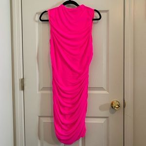 Limited Edition Neon Fuchsia Ruched Dress